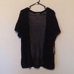 Vince Camuto Black Short Sleeve Knit Cardigan L